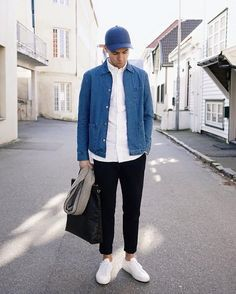 White Shirt | Open Blue Denim Shirt | Blue Cap | White Trainers | Cool Casual | Street Style | Urban Wear #StyleMadeEasy