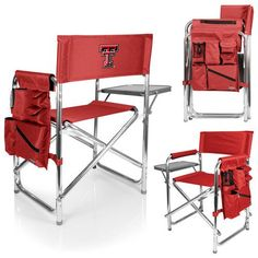 Sports Chair - Red (Texas Tech - Red Raiders) Embroidered