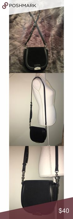 Black crossbody bag Used once• black crossbody bag• perfect size and super fab! Has lots of compartments as pictured above! Faux Suede front flap as pictured. A beautiful staple to your all black outfit! 😎❤️ Bags Crossbody Bags