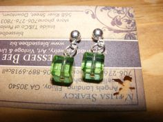 Green crystal cube earrings on posts by BlessedBeeMelisa on Etsy, $12.00