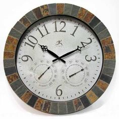 Infinity Instruments 18 in. Inca Round Wall Clock with Hygrometer and Thermometer-12648 at The Home Depot