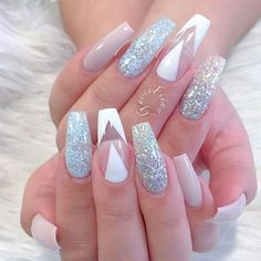Glitter, nude, White, negative space nail art