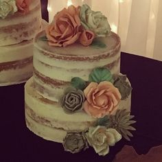 Wedding cake with hand-crafted rose and succulent flowers. Semi-naked vanilla cake with apple spice filling by Captain Killjoy Cakery in Lethbridge, AB. Teddy Bear Birthday, Spiced Apples, Custom Cakes, 50th Anniversary, Birthday Cakes, Vanilla Cake, Cake Ideas, Wedding Stuff, Wedding Cakes