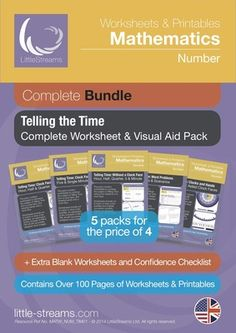 Telling Time | Complete Printables/Worksheets Bundle on Telling the Time from LittleStreams on TeachersNotebook.com -  - Over 100 pages of printables on analogue, digital 12h and 24h time telling. Aims to address the typical needs of both very young students in Primary School, as well as self-conscious adult learners. $