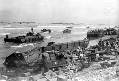 January 9, 1945. Lingayen Gulf during World War II. On the day of the landing. Note the heavy surf, which posed an extra challenge for the Allies.