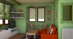 Salón en dos verdes