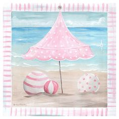 Beach Day Umbrella Canvas Artwork In Pink : Popular Artwork For Girls at PoshTots
