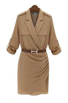Apricot Tailored Collar Drape Dress