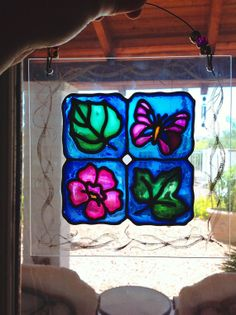 Faux Stained Glass Nature Butterfly Flower Leaves by pinkythepink, $15.00