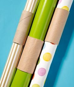 Toilet Paper Tube as Wrapping Paper Holder--File organizer as dish dryer? Get a load of these clever storage tricks. Wrapping Paper Holder, Gift Wrapping, Paper Holders, New Uses, Toilet Paper Roll, Organization Hacks, Cute Gifts, Cleaning Hacks, Helpful Hints