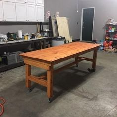 Rolling Assembly Table/Workbench with folding, height adjustable legs