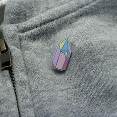 Pastel Crystal Enamel Pin // Pink crystal pin // Geometric pin // Pin game…
