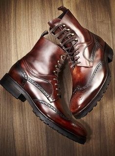 dark brown brogues boots