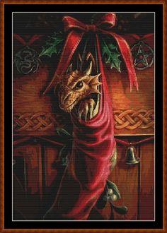Christmas Dragon Cross Stitch [fantasy season] - £1.50 : Witchykitt Designs - , Downloadable Stitching Patterns