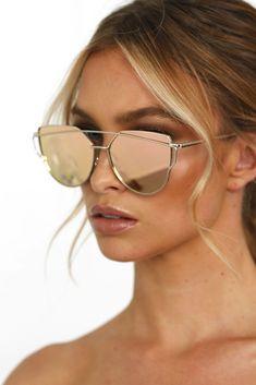 d08c6a3ca6d Honey Couture KOURTNEY Rose Gold Pink Mirror Sunglasses Rose Gold Mirrored  Sunglasses