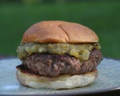 Green Chile Burgers ♥ KitchenParade.com, an authentic New Mexico specialty.