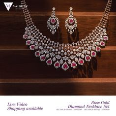 A timeless Rose Gold Diamond Necklace Set that is exclusively crafted with Ruby stones and diamonds expressing the beauty and elegance of a… Diamond Necklace Set, Diamond Choker, Diamond Jewelry, Dimond Necklace, Gold Jewelry, Indian Diamond Necklace, Diamond Bracelets, Vintage Jewelry, Indian Bridal Jewelry Sets
