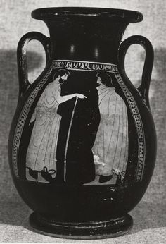 Florence Painter (BCE), British Museum, London E353 (1864.1007.118) (475 BCE; excavated at Camiros, Rhodes, Greece). Red-figure pelike. Side A.