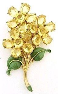 Vintage Rhinestone Floral Fur-Clip- Pin