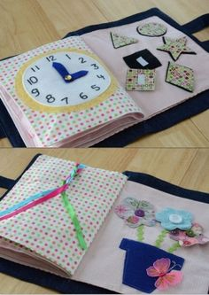 Quiet book inspiration - nice color scheme, attach flower heads (or cars for boys) with buttons