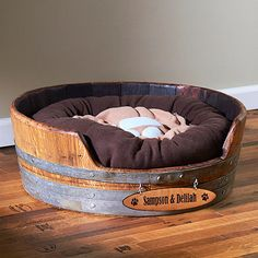 Personalized Wine Barrel Pet Bed Small at Wine Enthusiast - $195.00
