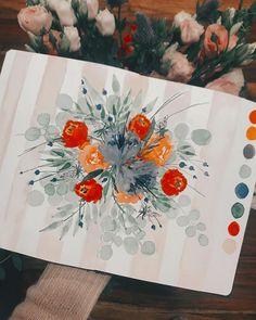 "Tanja von Die Handletterei on Instagram: ""#watercolorillustration #floralillustration #kreativeauszeit 😌♥️ . . . #watercolor_blog #watercoloring #watercolor_daily…"""
