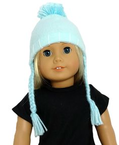 This fleece hat is sure to keep your doll warm when the winds blow! The pom-pom on top and braided ties with fringe add some fun to this adorable accessory.