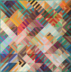 "COMPOSITION by Michael James 1986.  Machine-pieced and machine-quilted cotton and silk, signed and dated ""M. James © 1986"" at lower left.   53 x 53 inches....I never tire of the movement in Michael's quikts"