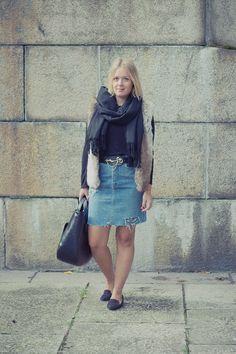 faux fur vest, ripped denim skirt, loafers