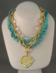 Sweet Dreams Gifts - Susan Shaw Turquoise and Gold Coin Necklace, $65.00 (http://www.sweetdreamsgifts.com/susan-shaw-jewelry-collection/susan-shaw-turquoise-and-gold-coin-necklace/)