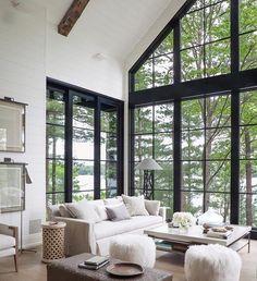 Living room design: white shiplap, black windows, aged wooden ceiling beams, transitional and fresh decor #TransitionalDecor