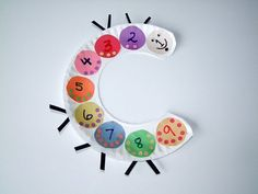SO cute! Use for Very Hungry Caterpillar - draw foods from book on number disks