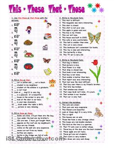 these are and those are printable worksheets