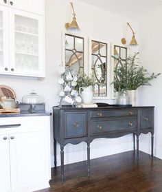 Eclectic Home Tour of Green Spruce Designs - love this antique sideboard given a fresh coat of blue paint and the brass sconces Sideboard Dekor, Kitchen Sideboard, Painted Sideboard, Painted Buffet, Kitchen Buffet, Dining Room Buffet, Painted Furniture, Sideboard Buffet, Kitchen Nook