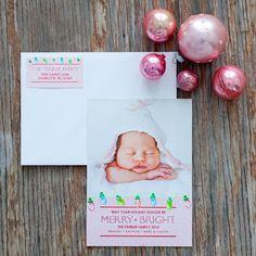 Printable Christmas Photo Card - pink polka dots lights merry bright holiday card