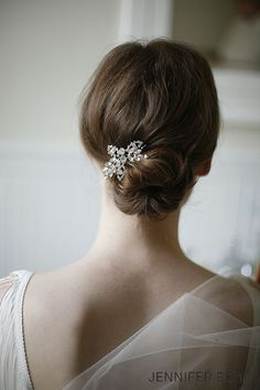 simple but elegant bridal headpiece for updo wedding hairstyles