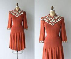 La Polonaise dress vintage dress rayon by DearGolden 1930s Fashion, Retro Fashion, Vintage Fashion, Vintage Couture, Vintage Dresses, Vintage Outfits, 40s Dress, Mode Vintage, Vintage Style