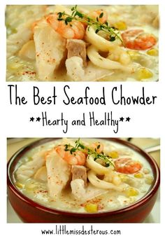When the weather requires a sweater, warm things up by diving into The Best Seafood Chowder! Full of seafood, spices, & potatoes,this soup will warm you up! The Best Seafood Chowder- Hearty and Healthy Julie Reichard Favorite Recipes When Seafood Soup Recipes, Seafood Stew, Healthy Soup Recipes, Seafood Dishes, Fish Recipes, Best Seafood Chowder Recipe, Recipes With Seafood Stock, Seafood Linguine, Seafood Platter