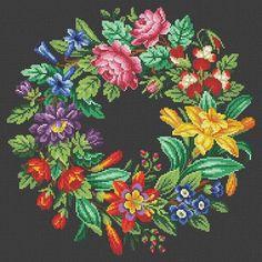 Berlin Woolwork Antique Multi-floral Wreath 1 by MyTreasureIsland