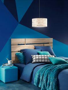 Un camaïeu de bleus pour une chambre en total look