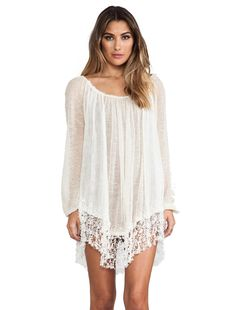 Free People Slip Away Pullover Dress in Ivory Combo | REVOLVE