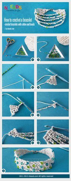 cómo tejer una pulsera - pulseras de ganchillo con algodón y granos