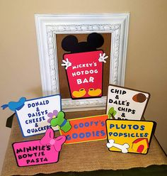 These cute Mickey mouse themed food labels are just what you need to make your party extra special! These labels can be left blank or have customized wording. Labels include 1. Mickeys hot dog bar 2.Minnies bow tie pasta 3. Plutos popcicles 4. Donald and daisys cheese and quackers
