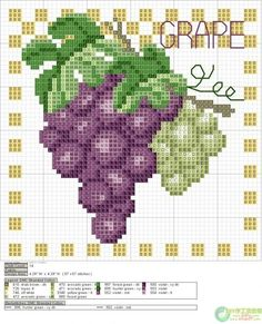 Cross-stitch Fruits Set, part 5 - Grapes (these are perfect for my kitchen)… Cross Stitch Fruit, Cross Stitch Boards, Cross Stitch Kitchen, Cross Stitch Flowers, Cross Stitching, Cross Stitch Embroidery, Embroidery Patterns, Cross Stitch Designs, Cross Stitch Patterns