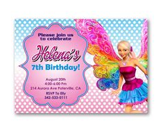 Barbie Polka Dot Pink Girl Colorful Kids Birthday Invitation Party Design