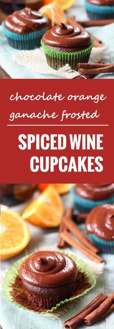 These sweet little red wine chocolate cupcakes are made with toasty spices and topped with rich chocolate orange ganache frosting.