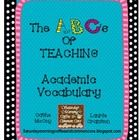 FREEBIE: In our ABC's series we wanted to do one on Academic Vocabulary since this is a topic on everyone's mind right now. Again, although whimisa. Academic Vocabulary, Marzano, Saturday Morning, Science And Nature, Morning Coffee, Teaching Ideas, School Ideas, Helpful Hints, Core