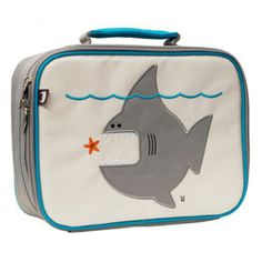 "#MightyNest - Way cute ""nigel the skark"" Insulated lunchbox, back side has zipper pocket and name bag. Adorable! $34.00"