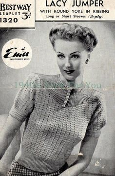 1940's Style For You: Free 1940's Jumper Pattern - Bestway 1320