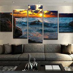 Sunset Seascape Tahiti Ocean Wave  MULTI CANVAS WALL ART Picture Print VA